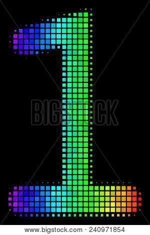 Dotted Impressive Halftone One Digit Icon In Rainbow Color Tinges With Horizontal Gradient On A Blac