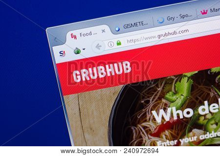 Ryazan, Russia - May 13, 2018: Grubhub Website On The Display Of Pc, Url - Grubhub.com