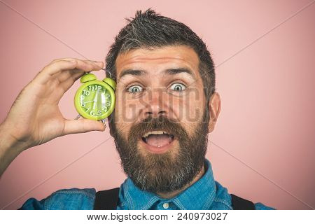 Time Concept. Perfect Morning - Happy Bearded Man Hold Alarm Clock. Handsome Man With Beard And Must