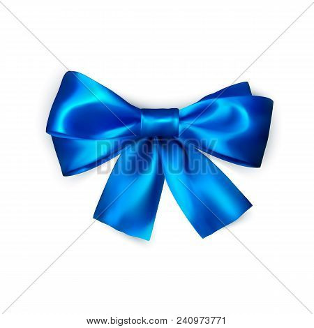 Blue Bow Isolated On White Background. Realistic Silk Bow. Decoration For Gifts And Packing Blue Bow