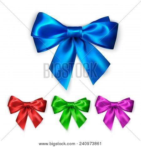 Colorful Silk Bow Set. Decoration Collection Of Elegant Bows. Bow Design Different Colors. Color Wra