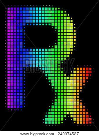 Dotted Colorful Halftone Rx Symbol Icon Drawn With Spectral Color Shades With Horizontal Gradient On