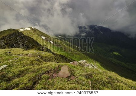 Clouds And Mountain Landscape. Nature Landscape. Clouds And Mountain Landscape. Outdoor Traveling La