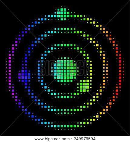 Dot Colorful Halftone Solar System Icon In Spectrum Color Variations With Horizontal Gradient On A B
