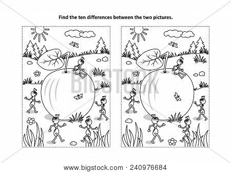 Find The Ten Differences Picture Puzzle And Coloring Page With Ripe Apple Lying On The Ground And Fi