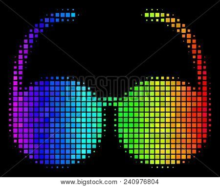Pixelated Colorful Halftone Spectacles Icon Using Rainbow Color Shades With Horizontal Gradient On A