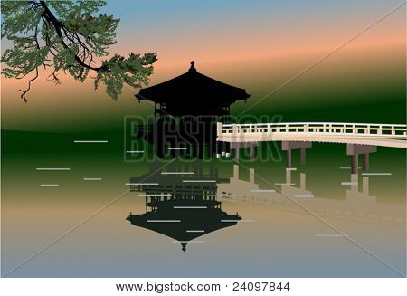 illustration with pavilion and reflection in pond