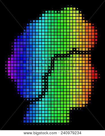 Dotted Bright Halftone Woman Profile Icon In Spectral Color Shades With Horizontal Gradient On A Bla