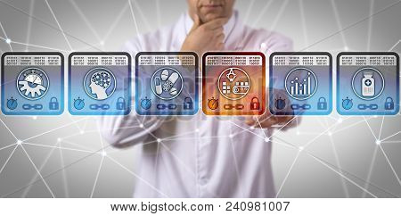 Unrecognizable Pharmaceutical Scientist Using Blockchain Technology For Supply Chain Management. Pha