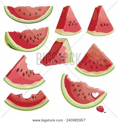 A Set Of Pieces Of Watermelon. A Collection Of Sliced Watermelon. Juicy Summer Fruit.