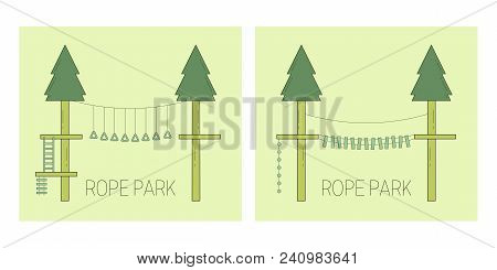 Rope Park Track On The Trees. Vector Illustration.