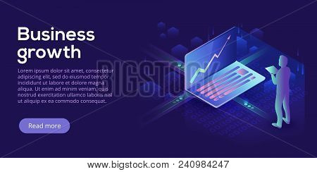 Business Growth Isometric Vector Illustration. Abstract Businessman With Laptop Background. Financia