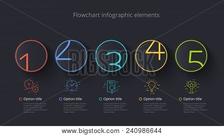 Business Process Chart Infographics With 5 Step Segments. Circular Corporate Timeline Infograph Elem