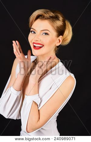 Makeup Girl. Retro Style. Cheerful Happy Sexy Stylish Woman In Elegant White Dress With Professional