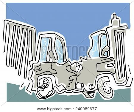 Crushing Vehicles.  Two Trucks Crushing. Illustration Of Crushing Cars In The Road.