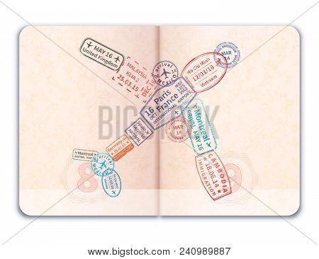 Realistic Open Foreign Passport With Many Bright Colorful Immigration Stamps In Plane Shape Isolated