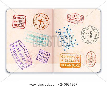 Realistic Open Foreign Passport With Many Immigration Stamps Isolated On White