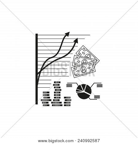 For Finance And Business Black And White Outline  Vector Icon