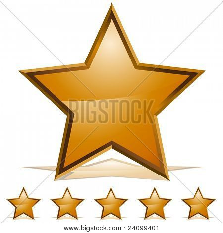 An image of five 3d embossed gold stars.