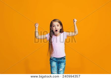 I Won. Winning Success Happy Teen Girl Celebrating Being A Winner. Dynamic Image Of Caucasian Female