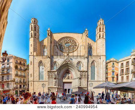 Barcelona - August 10: Scenic Facade Of The Gothic Church Of Santa Maria Del Mar In The Ribera Distr