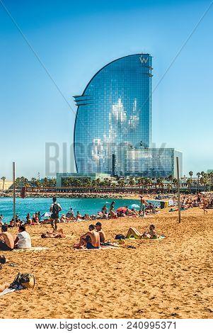Barcelona - August 10: W Barcelona Hotel, Aka Hotel Vela, Designed By Loredana Gengler And Located I