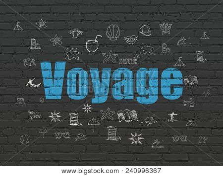 Vacation Concept: Painted Blue Text Voyage On Black Brick Wall Background With  Hand Drawn Vacation