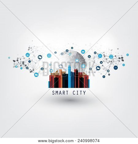 Colorful Smart City, Internet Of Things Or Cloud Computing Design Concept With Icons - Digital Netwo
