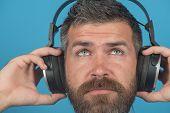 Dreamy calm bearded man listening music in headphones. Young man enjoying music in his headphones, listening to music. Relaxing music time. Closeup portrait. poster