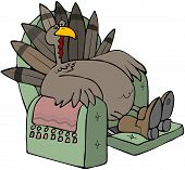 This illustration depicts a tired turkey sitting in a recliner chair. poster