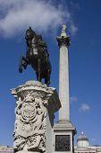 Nelson`s column on Trafalgar Square in London poster