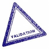 Validation triangle stamp seal. Vector element with grainy design and retro texture in blue color. Designed for overlay watermarks and grunge textured rubber seal imitations. poster
