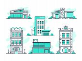 Houses and buildings property and accommodation line icons. Modern architecture outline symbos isolated. Home architecture, garage and housing, vector illustration poster