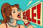 Woman announcing sale. Pop art retro vector illustration comic cartoon kitsch vintage drawing poster