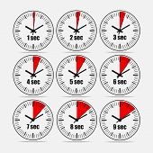 Vector illustration, increments from 1 to 9, one second interval, 3 rows and 3 columns on grey background, for business or education. Watches in flat design. Watches set 2. poster