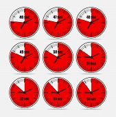 Vector illustration, increments from 46 to 54, one second interval, 3 rows and 3 columns on grey background, for business or education. Watches in flat design. Watches set 2. poster