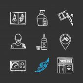 Tattoo studio chalk icons set. Tattoos catalog, aftercare, tattooist machine, tattooer, ink bottle and cap, studio location, power supply, sketch, parlour. Isolated vector chalkboard illustrations poster