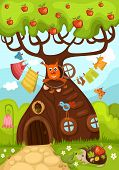 vector illustration of a cute fairy tree poster