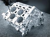 Repair motor block of cylinders, operator inspection dimension aluminium automotive par in industrial factory poster