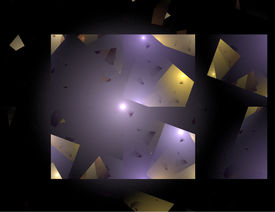 Abstract Shattered Glass Image In Purple And Gold