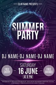 Flyer For The Summer Party. Abstract Neon Round Banner With Flying Luminous Geometric Particles. Dan