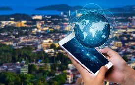 Smart Phones And Globe Connections Uncommon Communication World Internet Businesspeople Press The Ph