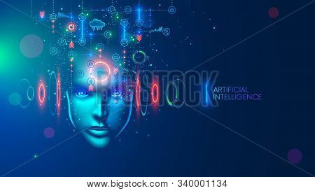 Artificial Intelligence In The Image Of A Wise Woman. Ai Conceptual Futuristic Blue Banner. Cybernet