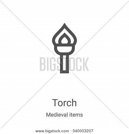 torch icon isolated on white background from medieval items collection. torch icon trendy and modern