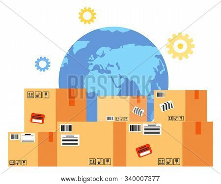 International Business With China Delivery Cardboard Box. Globe Symbol And Containers With Stickers