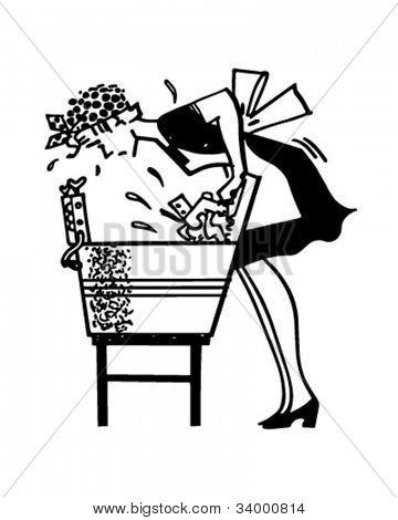 Woman Using Washboard - Retro Clipart Illustration