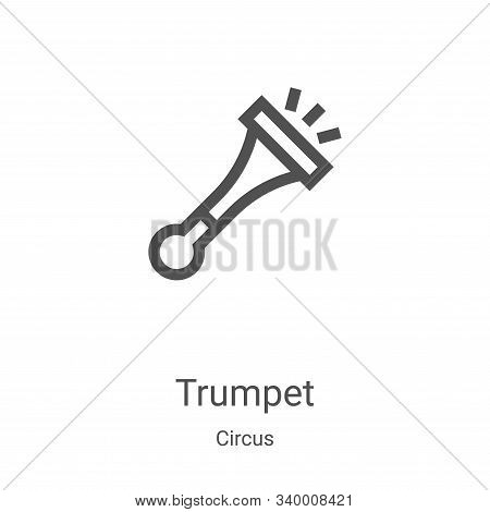trumpet icon isolated on white background from circus collection. trumpet icon trendy and modern tru