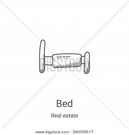 bed icon isolated on white background from real estate collection. bed icon trendy and modern bed sy