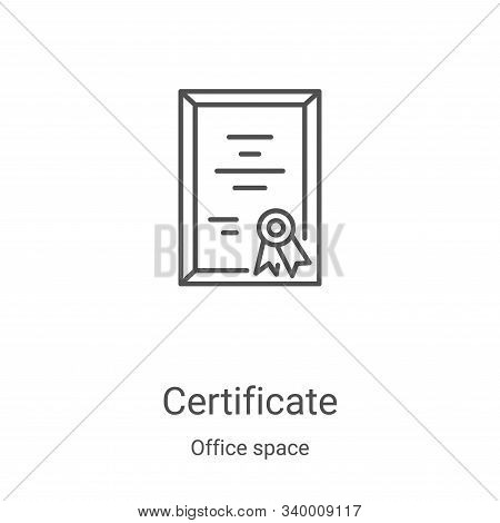 certificate icon isolated on white background from office space collection. certificate icon trendy