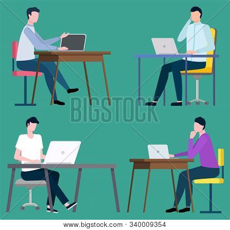 Brokers Sitting At Computers And Working On Notebooks. Vector Stockbrokers Middlemans Sitting At Tab